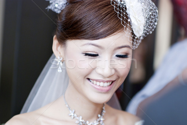 Belle mariée instant asian souriant Photo stock © szefei
