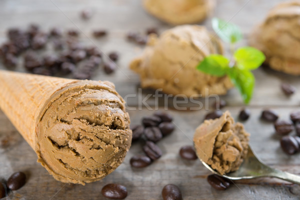 Close up mocha ice cream Stock photo © szefei