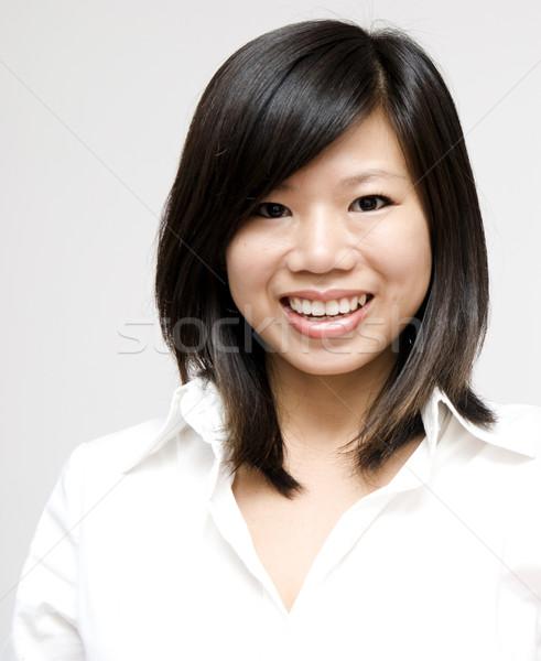 小さな アジア 女性 グレー ビジネス 学生 ストックフォト © szefei