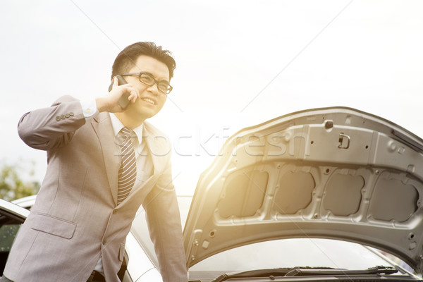 Car breakdown and calling for help Stock photo © szefei