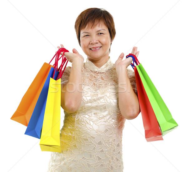 Feliz maduro asiático bolsa de compras Foto stock © szefei