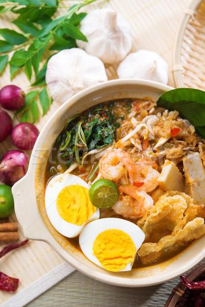 Singaporean prawn noodles  Stock photo © szefei