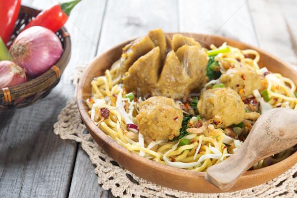 Traditional Indonesian meatball noodles Stock photo © szefei