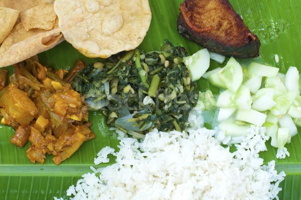 индийская кухня банан лист риса рыбы Сток-фото © szefei