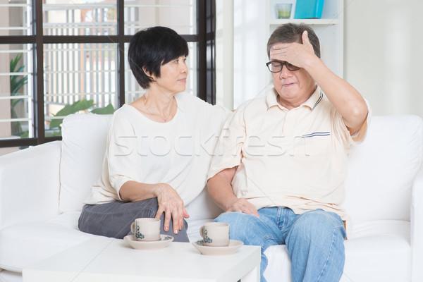Senior man fever Stock photo © szefei