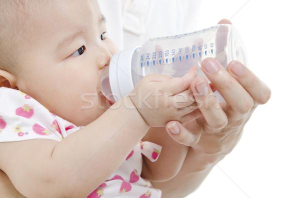 Father bottle feeding to baby Stock photo © szefei