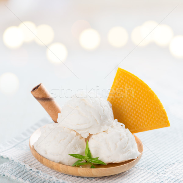 white ice cream wafer plate Stock photo © szefei