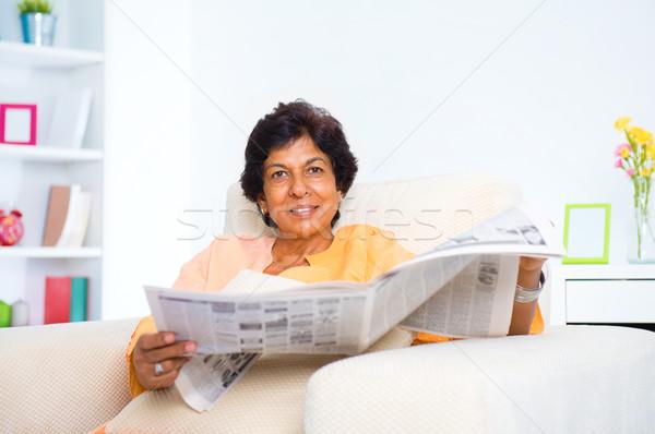 成熟した インド 女性 読む 新聞 50年代 ストックフォト © szefei