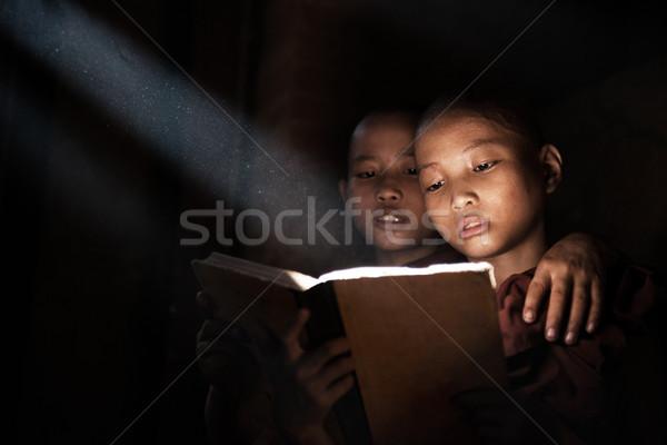 мало чтение книга внутри монастырь человека Сток-фото © szefei
