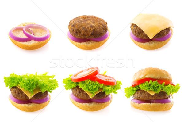 Burger Prozess Schritt isoliert weiß Stock foto © szefei