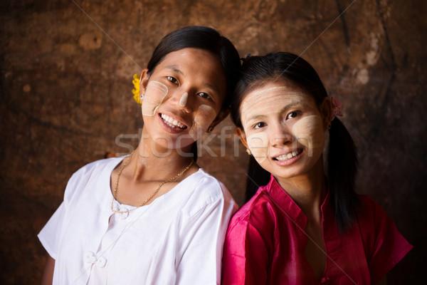 Мьянма девочек улыбаясь портрет два красивой Сток-фото © szefei