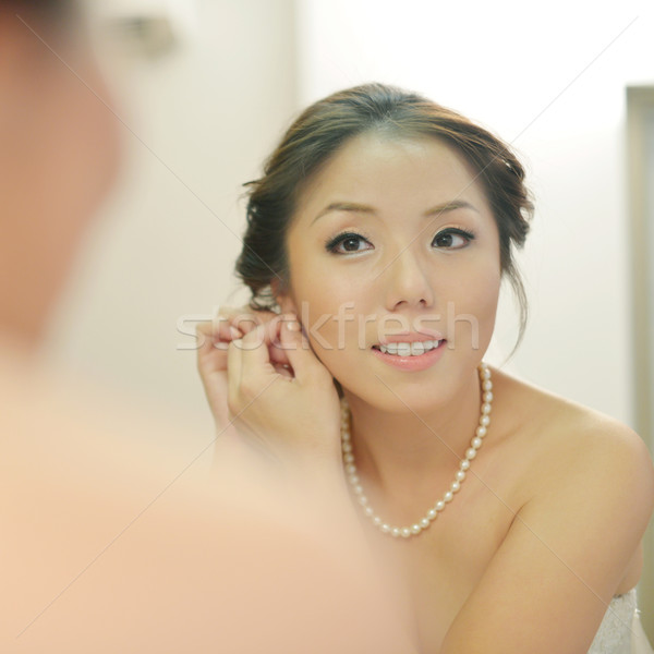 Stockfoto: Bruiloft · voorbereiding · asian · bruid · oorbellen