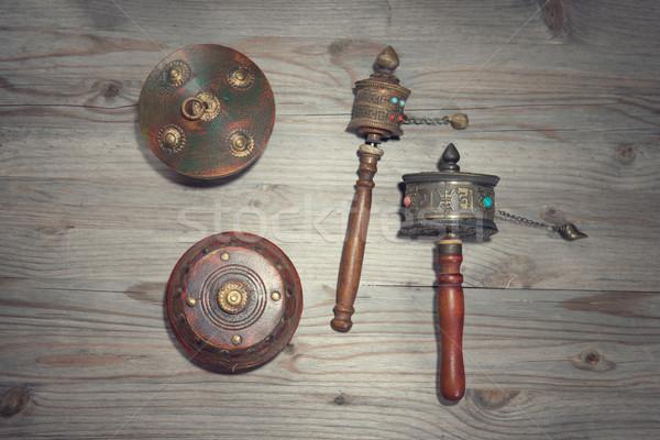 ホイール 祈り 古い 木製 劇的な 光 ストックフォト © szefei
