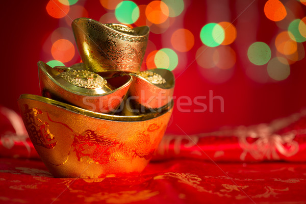 Chinese New Year object gold ingots with copy space Stock photo © szefei