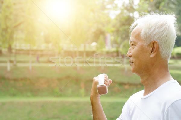 азиатских старик тренировки Открытый портрет активный Сток-фото © szefei