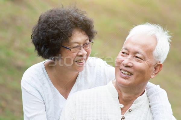 Сток-фото: старший · азиатских · пару · расслабляющая · Открытый · портрет