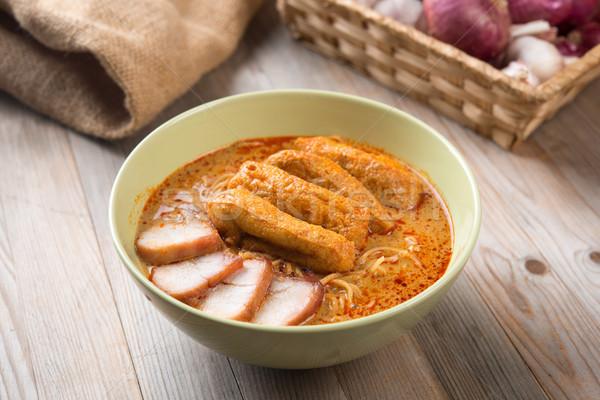 Curry Laksa Noodles Asian food Stock photo © szefei