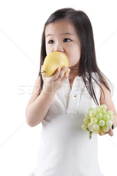 еды плодов мало азиатских девушки груши Сток-фото © szefei