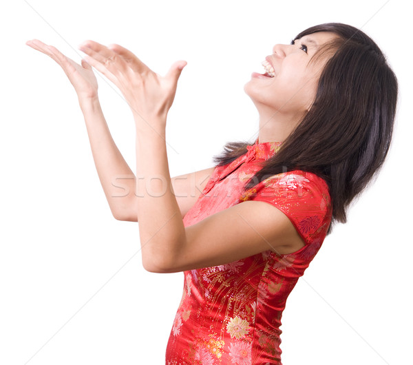 Stock photo: Happy oriental girl open her arms