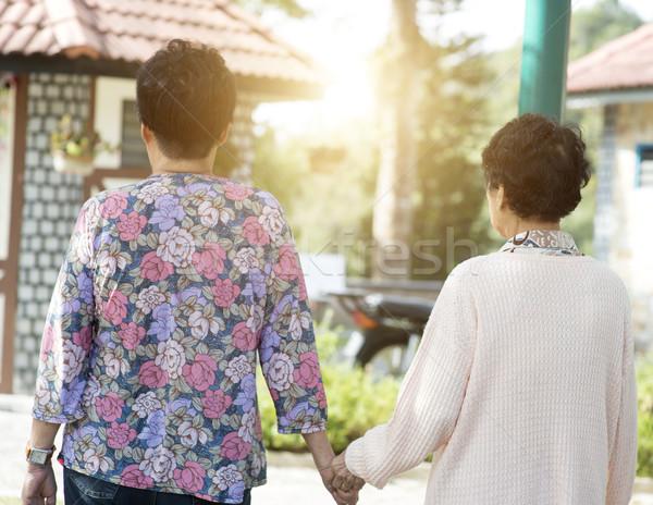Vista posteriore asian anziani donne piedi outdoor Foto d'archivio © szefei