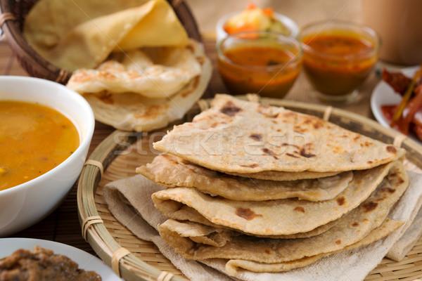 Kenyér indiai étel búza liszt étterem vacsora Stock fotó © szefei