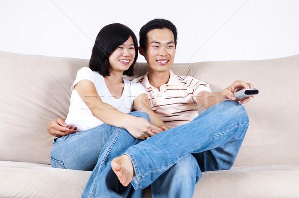 Tv mostrar asiático casal sessão Foto stock © szefei