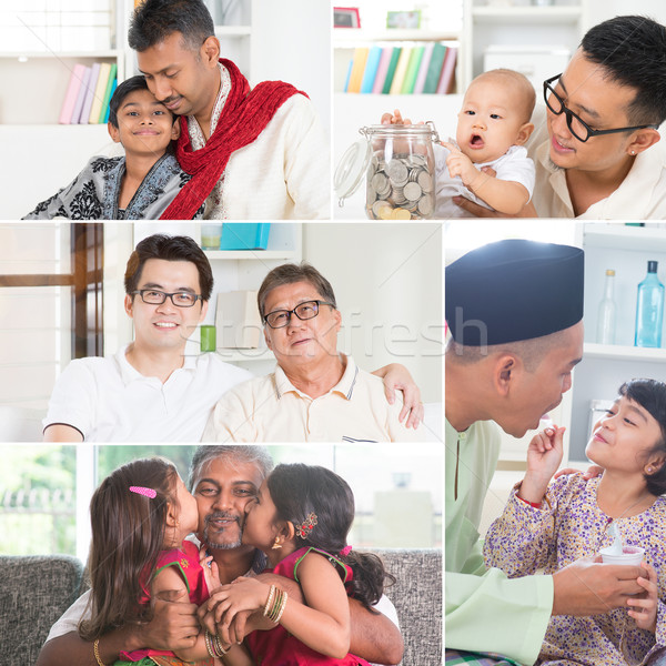 Stock photo: Collage photo of fathers and children