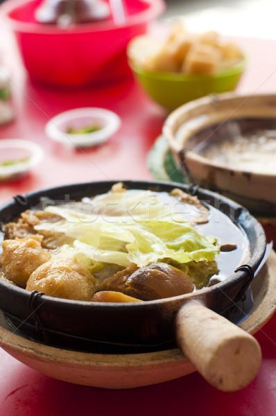Híres étel pörkölt disznóhús szárított növénygyűjtemény leves Stock fotó © szefei
