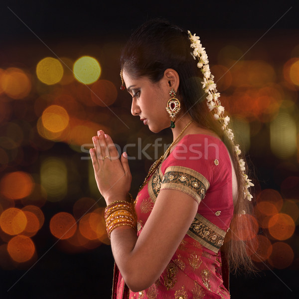 Indian female prayer Stock photo © szefei
