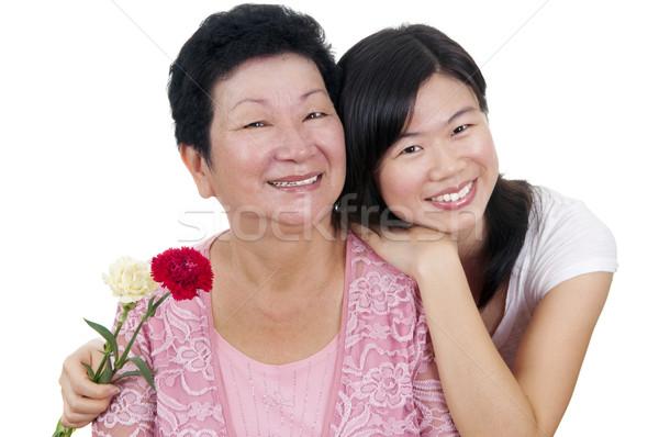 Anyák nap boldog ázsiai anya felnőtt Stock fotó © szefei