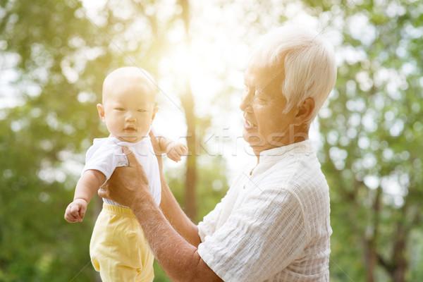 Büyükbaba veya büyükanne torun portre dede bebek torun Stok fotoğraf © szefei