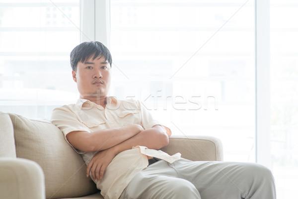 Asian volwassen man home portret mensen Stockfoto © szefei