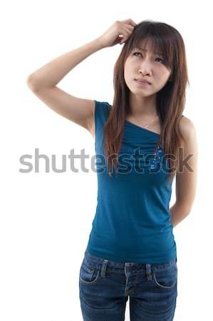Foto stock: Cabeça · bonitinho · asiático · menina · pensando