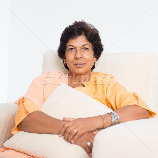 Indian mature woman portrait Stock photo © szefei
