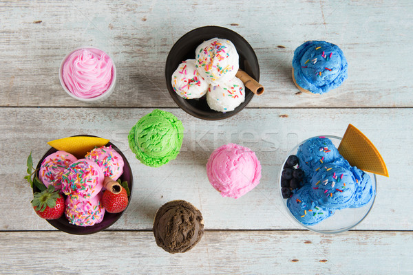 Top view different flavor ice cream Stock photo © szefei