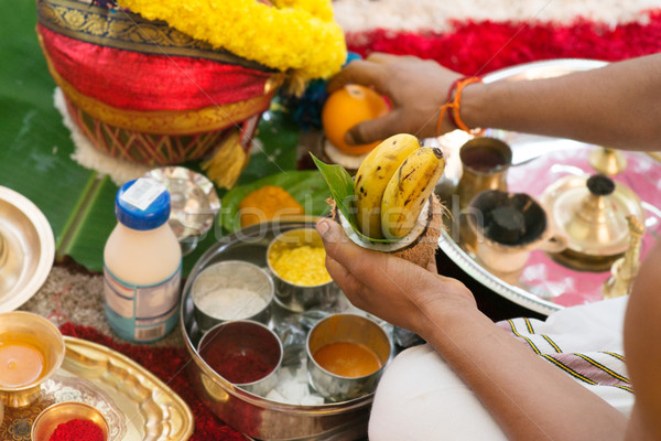 Traditional Indian Hindu religious praying ceremony Stock photo © szefei