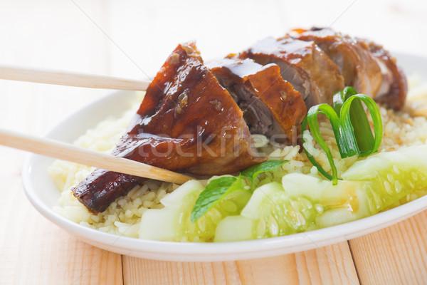 Roasted duck rice Stock photo © szefei