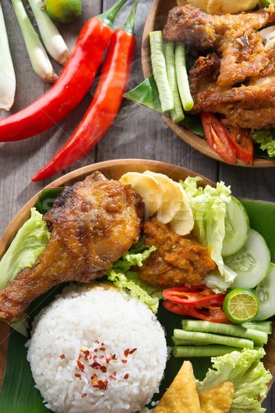 Pirinç endonezya yerel gıda tavuk kızartma Stok fotoğraf © szefei