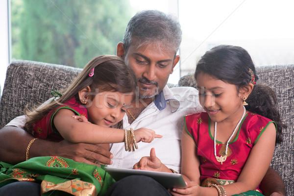 Stockfoto: Indian · familie · eengezinswoning · asian · vader