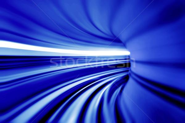 синий туннель фото глядя аэропорту поезд Сток-фото © szefei