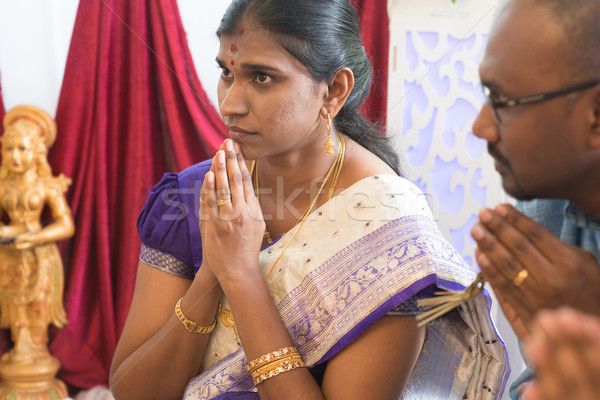 Indian people praying Stock photo © szefei