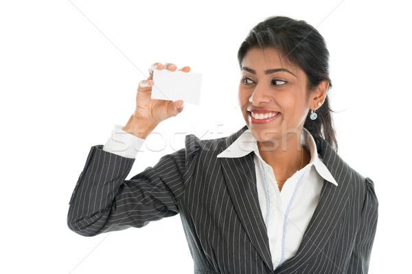 Black business woman showing blank business card Foto stock © szefei