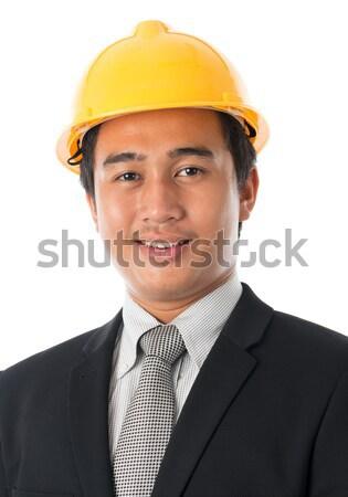 ázsiai férfi védősisak portré vonzó délkelet Stock fotó © szefei