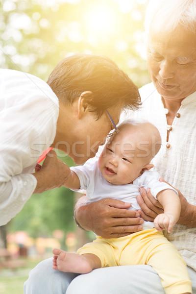 祖父母 ケア 孫 屋外 幸せ ストックフォト © szefei