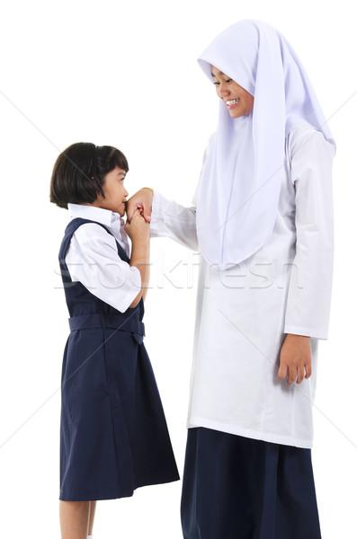 Moslim groet jonge zuidoosten asian meisje Stockfoto © szefei