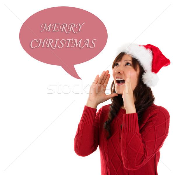 Happy Christmas woman shouting Stock photo © szefei