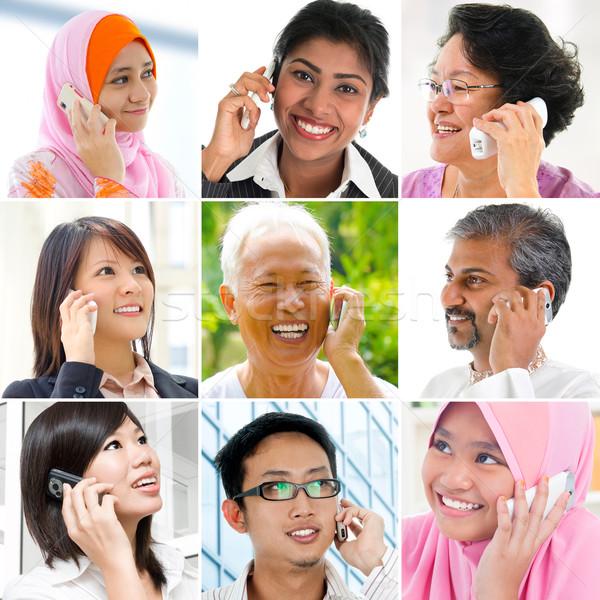 люди говорили телефон коллаж девять фотографий разнообразия Сток-фото © szefei