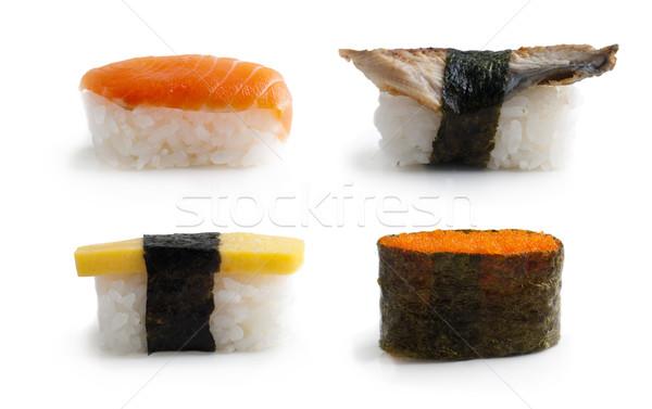 Stockfoto: Sushi · ingesteld · traditioneel · japans · keuken · geïsoleerd