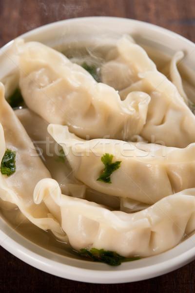 Close up Asian food dumplings soup  Stock photo © szefei