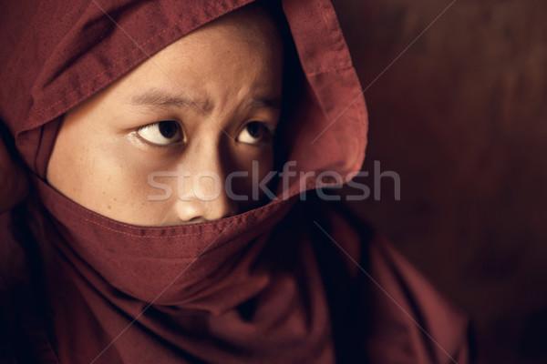 Monnik gedekt gewaad portret Stockfoto © szefei